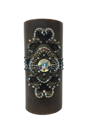 Decorative Candle 4x9 Jeweled Scroll Medallion