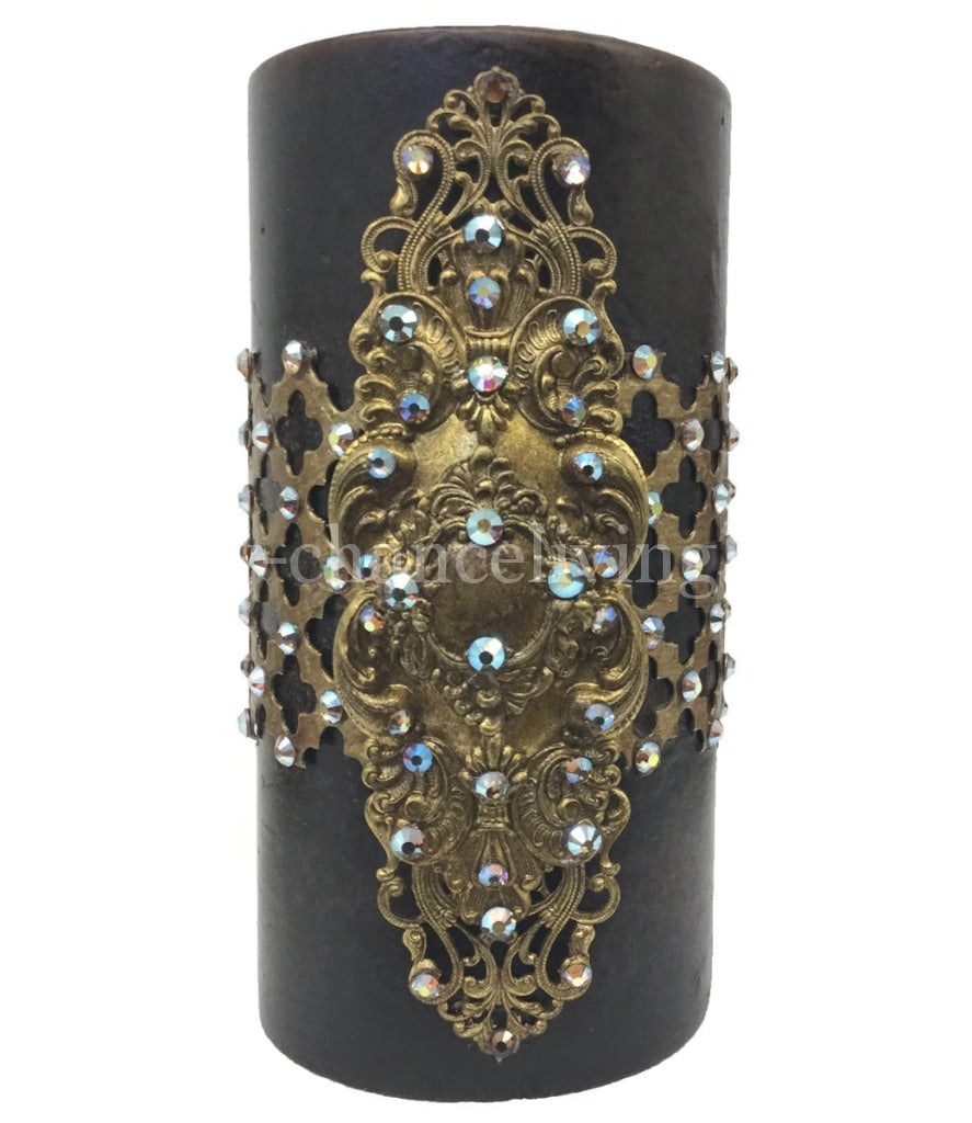 Decorative Candle 3X6 With Jeweled Mesh And Medallion Candles