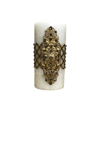 Decorative Candle 3x6 with Jeweled Mesh and Jeweled Medallion