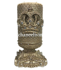 Decorative Candle 6x9 with Jeweled Mesh and Jeweled Scroll Crown with Jeweled Candle Base