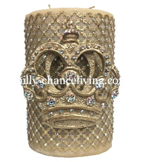 Decorative Candle 6x9 with Jeweled Mesh and Jeweled Scroll Crown