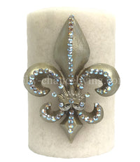 Decorative Candle Fleur de Lis with Jeweled Crown 4x6