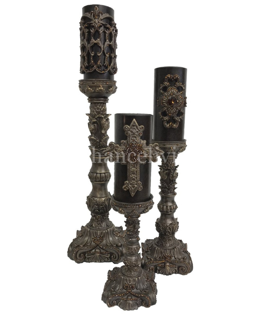 Decorative Candle Set Of 3 With Jeweled Bases Candle/base Combination