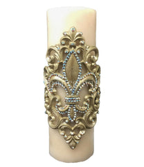 Decorative_candles-triple_scented_candles-candle_bling-4x12_candle-fleur_de_lis-swarovski_crystals-fancy_candles-sir_olivers_by_reilly_chance_collection