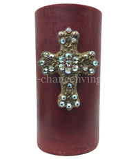 Decorative Candle 3x6 Small Jeweled Cross