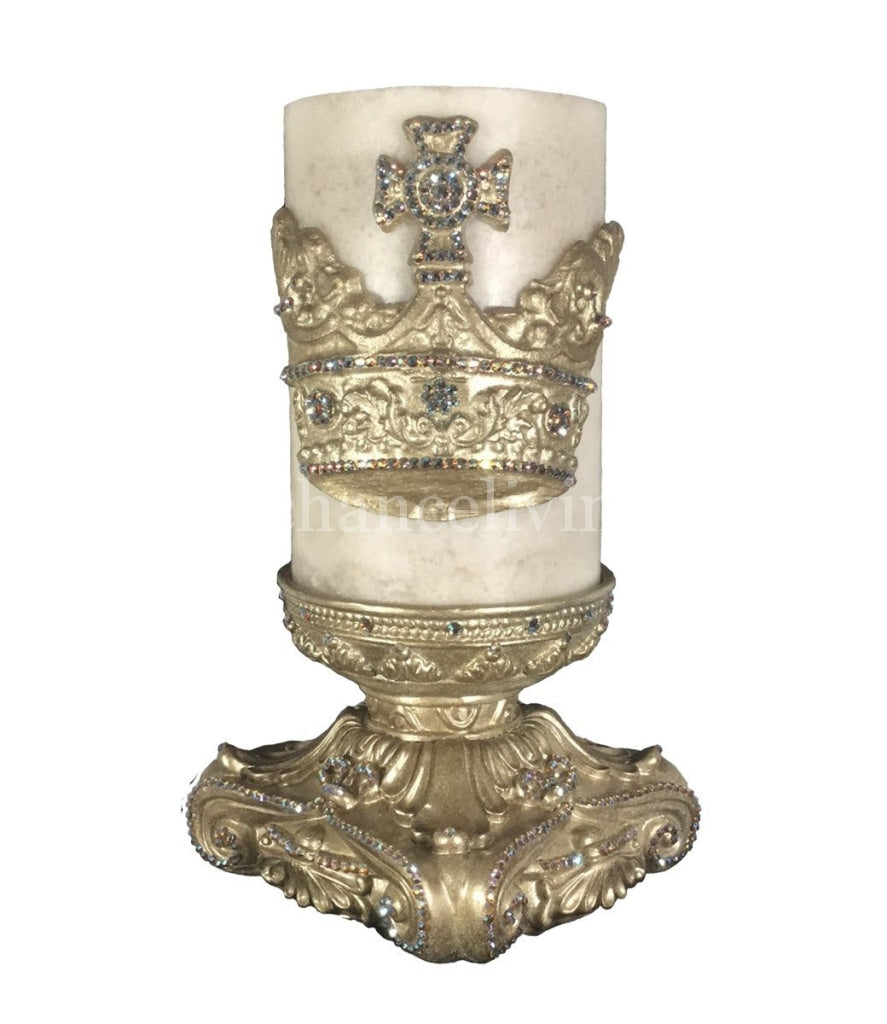 Decorative_cream_candle-6x9-champagne_candle_base-jeweled_large_crown-sir_olivers-reilly_chance_collection_grande