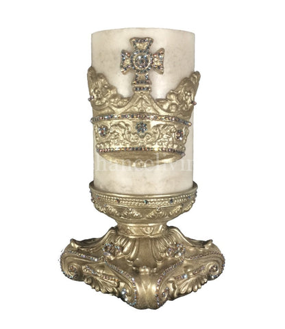 Decorative Jeweled 6x6 Candle Base Cream Candle 6x9 Jeweled Crown