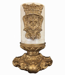 Decorative 6X6 Candle Base And 6X9 Jeweled Fleur De Lis Shield Candle/base Combination