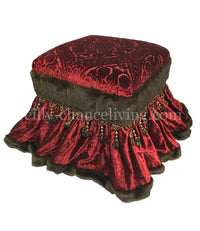 Red Velvet Foot Stool / Vanity Stool