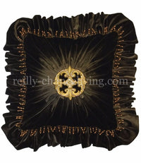 Dark Chocolate Velvet Accent Pillow Jeweled Medallion 20x20