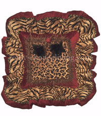 Animal Print and Red Chenille Square Accent Pillow 16x16