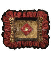 Ruffled Decorative Pillow Red and Leopard Print 20