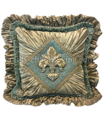 Decorative_pillow-blue-taupe-silk-brush_fringe-_ruffled-swarovski_crystals-fleur_de_lis-reilly_chance_collection
