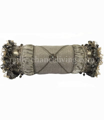 Accent Pillow Gray Metallic Bolster