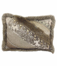 Accent Pillow Grey And Taupe Chenille Damask Pieced Rectangle 18x13