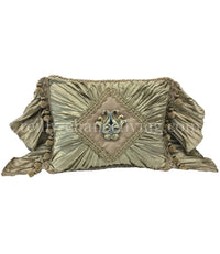 Blush and Taupe Decorative Pillow with Bling 14x18