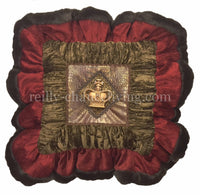 Decorative Accent Pillow Red Chocolate Brown with Jeweled Crown 19x19