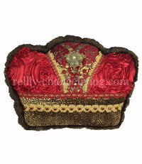 Christmas Pillow Crown Red and Cheetah 15x11