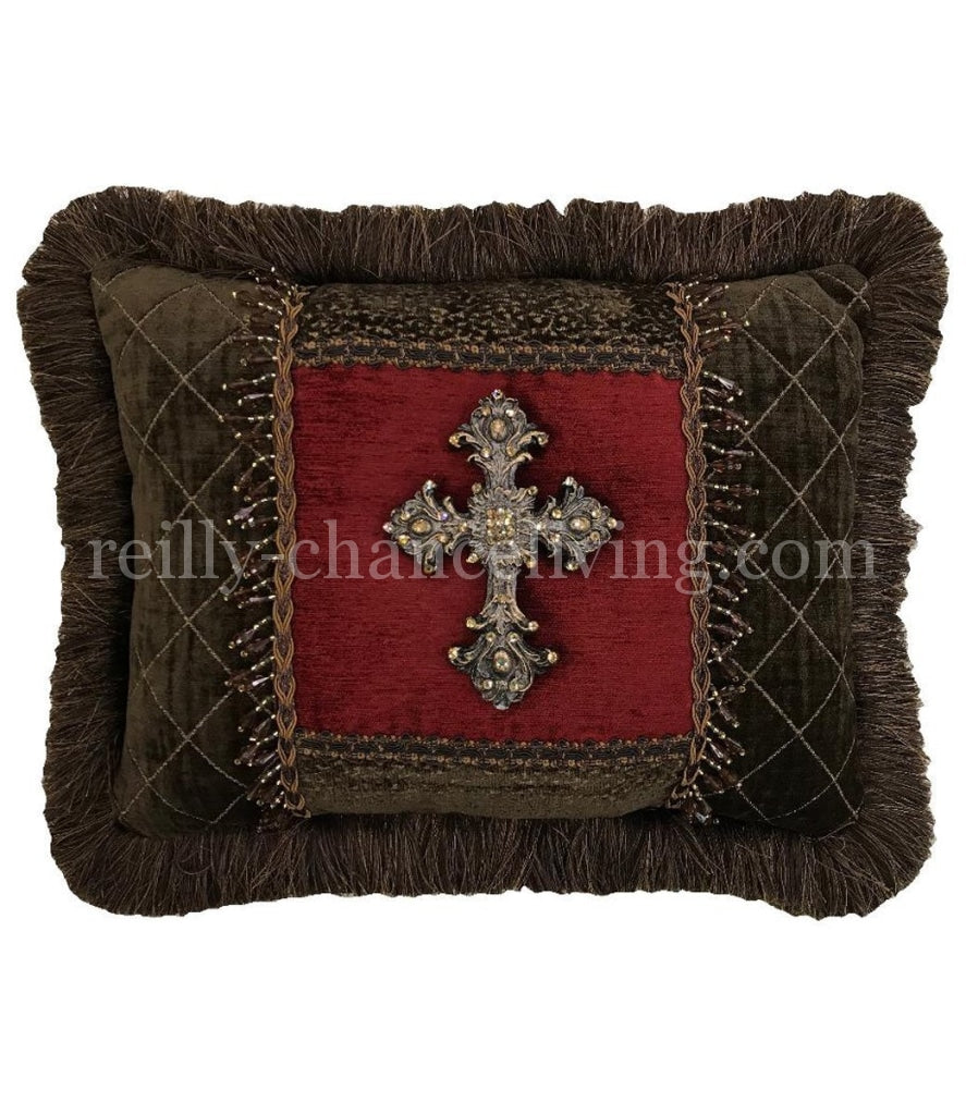 Decorative_pillow-red_and_brown_accent Pillow-old_world_style_pillows-embellished_pillows-reilly_chance