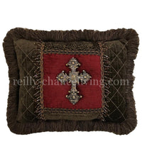 Accent Pillow Red and Chocolate Brown with Jeweled Cross