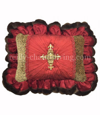 Christmas Pillow Red Silk Jeweled Cross 18x13(not incl. ruffle)