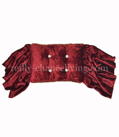Accent Pillow Red Velvet Rectangle Crystals 17