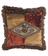 Accent Pillow Bronze/Rust Velvet with Faux Croc  18x18
