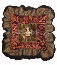 Accent Pillow Bronze/Rust Velvet Square Ruffled with Jeweled Crown 19x19(not incl. ruffle)