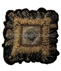 Decorative Pillow Bronze Ruffled with Medallion