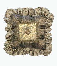 Ruffled Decorative Pillow with Metallic Animal Print