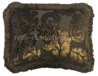 Decorative Lumbar Pillow Chocolate Brown and Metallic Gold