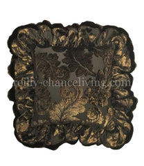 Ruffled Accent Pillow Chocolate Brown And Metallic Gold
