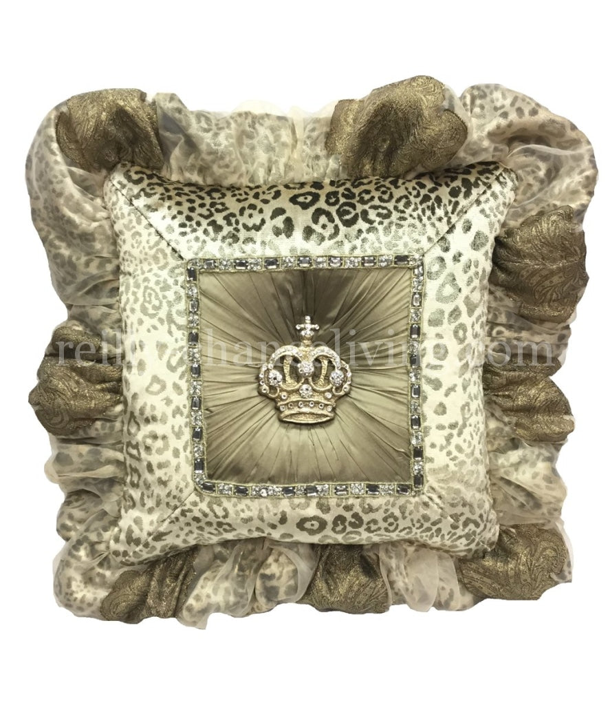 Leopard Print Decorative Pillow With Jeweled Crown
