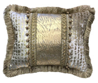 Animal Print Decorative Rectangle Pillow with Metallic Accents