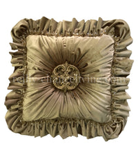 Gold Velvet Accent Pillow Jeweled Medallion 20x20