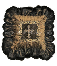 Decorative Pillow Chocolate Brown Ruffled with Jeweled Cross