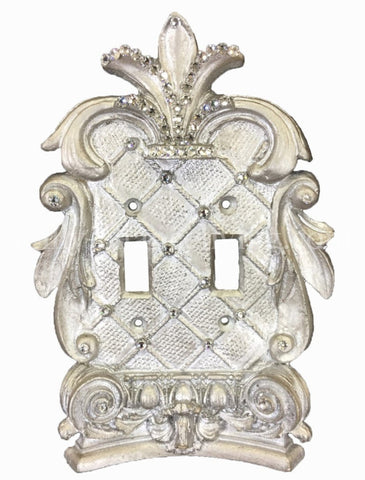 Decorative Double Flip Switch Plate Corinthian with Swarovski Crystals