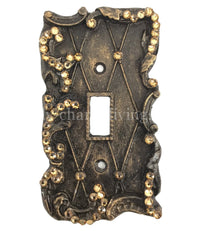 Decorative Single Flip Switch Plate Lattice with Swarovski Crystals 3