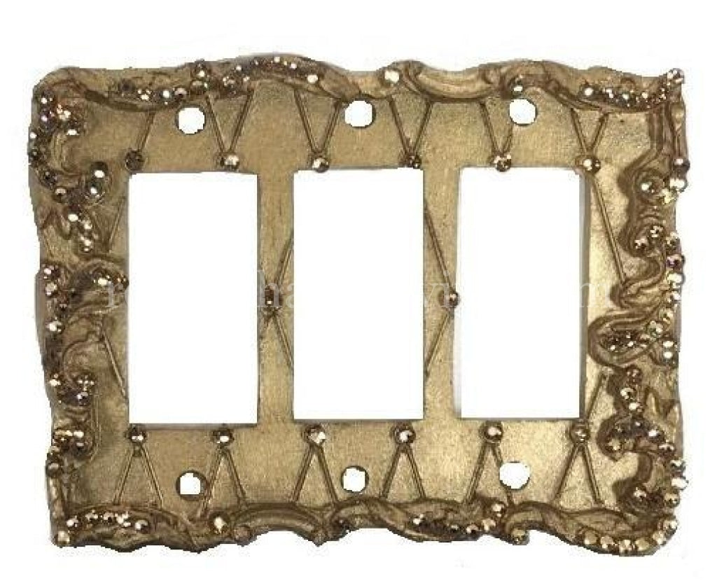 Decorative Switch Plate Triple Rocker/Dimmer Lattice with Swarovski Crystals