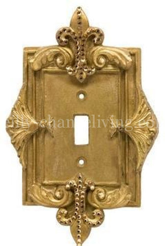 Decorative Single Flip Switch Plate Fleur de Lis with Swarovski Crystals