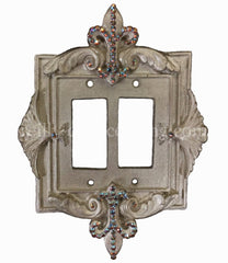 Decorative Double Rocker/dimmer Switch Plate Fleur De Lis With Swarovski Crystals 7X 9.5H Plates