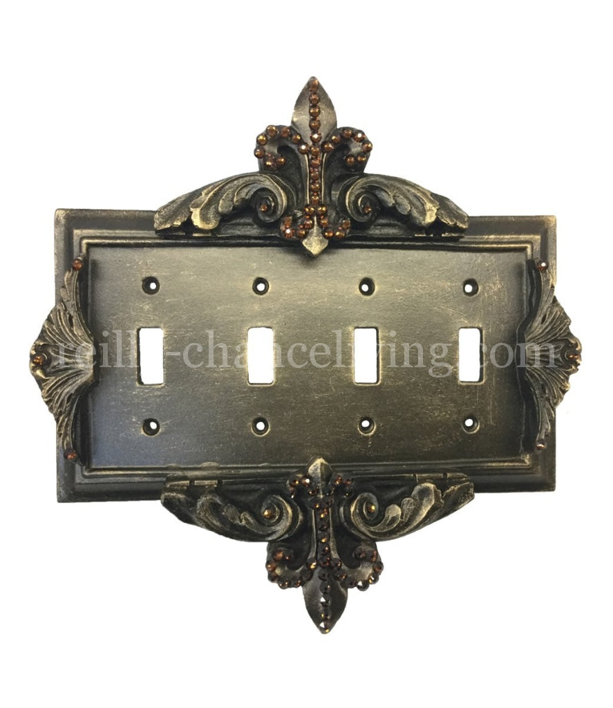 Decorative_switch_plate_covers-swarovski_crystals-fleur_de_lis-quad_flip_switch-sir_olivers-reilly_chance_collection_grande