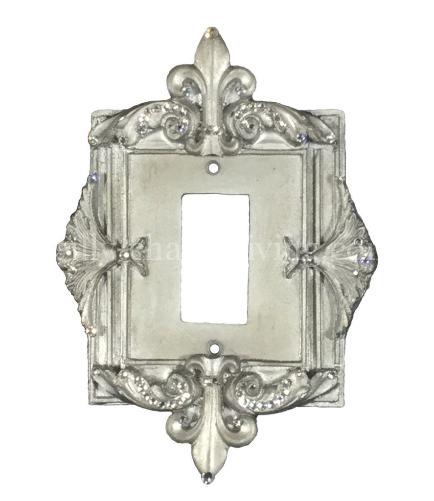 Decorative Single Rocker/dimmer Switch Plate Fleur De Lis With Swarovski Crystals 6.5X 9.5H Plates