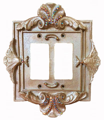 Decorative Double Rocker Dimmer Switch Plate Florentine Swarovski Crys Reilly Chance Collection