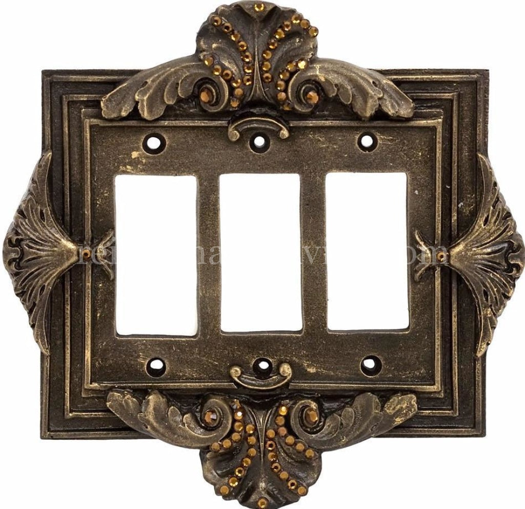 Decorative_switch_plate_covers-swarovski_crystals-florentine-triple_rocker_dimmer_switch-sir_olivers-reilly_chance_collection