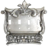Decorative Quad Flip Switch Plate Corinthian with Swarovski Crystals 7.5