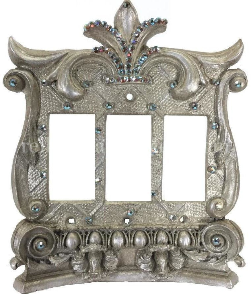 Decorative_switchplate_cover-Corinthian-swarovski_crystals-triple_rocker_switch_plate-Triple_dimmer-sir_olivers_by_reilly_chance_collection