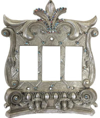 Decorative Switch Plate Triple Rocker/Dimmer  Corinthian Swarovski Crystals 7