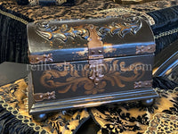 Hand Carved Wood Treasure Chest Box Vintage Black