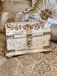 Hand Carved Wood Treasure Chest Box Vintage White